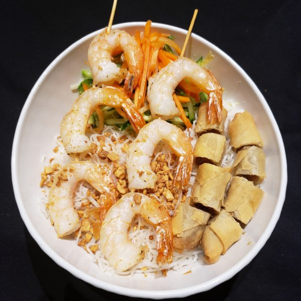 28. Vermicelli with Grilled Prawns(2 Skewers) & Spring Rolls