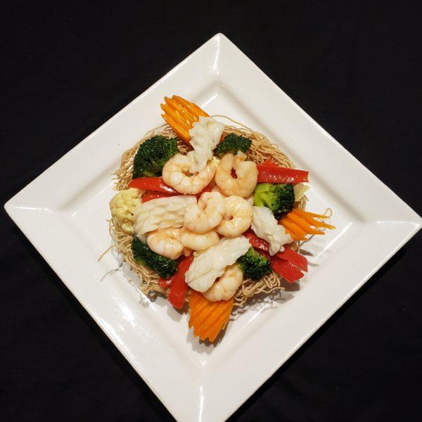 77. Stir Fried Mixed Vegetables & Seafood with Crispy Egg Noodle