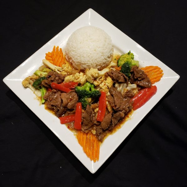 74. Stir Fried Mixed Vegetables & Satay Beef with Steamed Rice