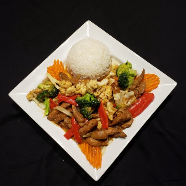75. Stir Fried Mixed Vegetables & Satay Chicken with Steamed Rice