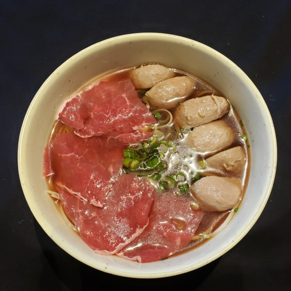 13. Rare Beef & Meatball Noodle Soup