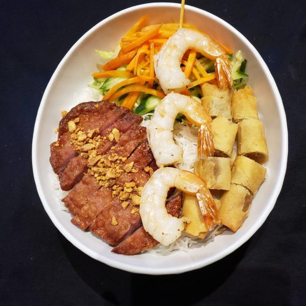 26. Vermicelli with Grilled Prawns, Vietnamese Pork Patty & Spring Rolls