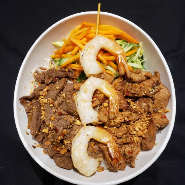 27. Vermicelli with Satay Beef, Satay Chicken, & Grilled Prawns