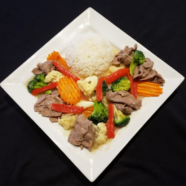 G74. Stir Fried Mixed Vegetables & Beef with Steamed Rice or Vermicelli
