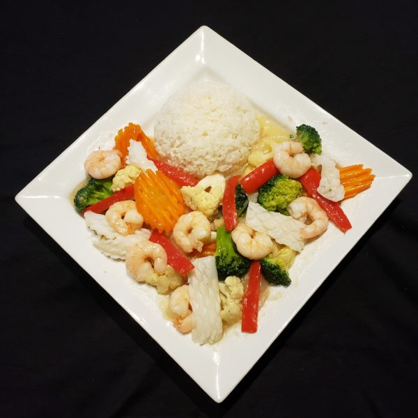 76. Stir Fried Mixed Vegetables & Seafood with Steamed Rice
