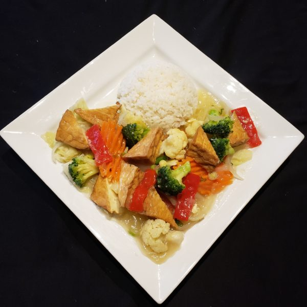 V78. Stir Fried Mixed Vegetables & Tofu with Steamed Rice or Vermicelli