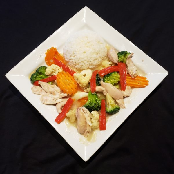 G75. Stir Fried Mixed Vegetables & Chicken with Steamed Rice or Vermicelli